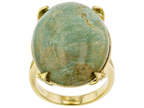 Turquoise Kingman Green 18k Gold Over Silver Ring