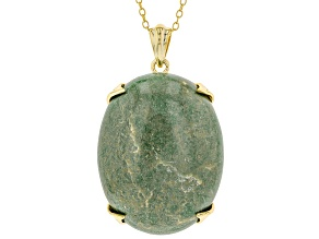 Turquoise Kingman Green 18K Gold Over Silver Pendant With Chain
