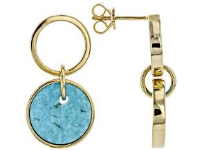 Turquoise Kingman 18K Yellow Gold Over Silver Earrings