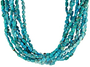 Chinese Turquoise Nugget 10-Strand Silver Necklace