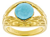Sleeping Beauty Turquoise 18K Gold Over Silver Ring