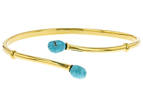 Sleeping Beauty Turquoise 18K Yellow Gold Over Silver Bracelet