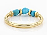 Sleeping Beauty Turquoise 18K Gold Over Silver Band Ring