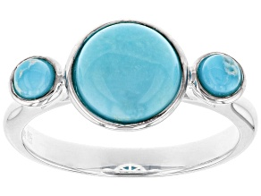 Sleeping Beauty Turquoise Silver 3-Stone Ring