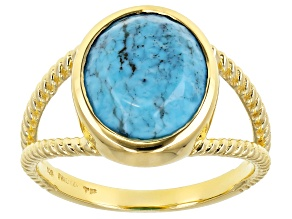 Blue Kingman Turquoise 18K Yellow Gold Over Silver Ring