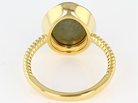 Green Kingman Turquoise 18K Gold Yellow Over Silver Ring