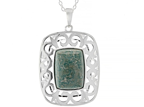 Green Kingman Turquoise Silver Pendant With Chain
