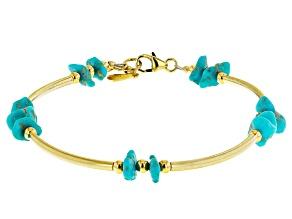 Turquoise Sleeping Beauty 18K Gold Over Silver Bracelet