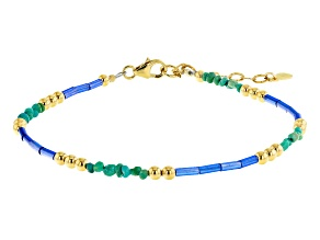 Green Kingman Turquoise 18k Gold Over Silver Bracelet