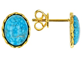 Kingman Turquoise 18k Gold Over Silver Earrings