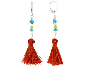 Sleeping Beauty Turquoise With Mixed-Gem Sterling Silver Earrings