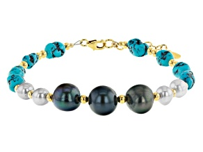 Sleeping Beauty Turquoise 18k Gold Over Silver Bracelet