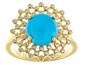 Sleeping Beauty Turquoise 18k Gold Over Silver Ring .