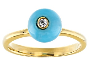 Sleeping Beauty Turquoise 18k Gold Over Silver Ring .01ctw