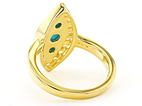 Sleeping Beauty Turquoise 18K Gold Over Silver Ring 0.12ctw