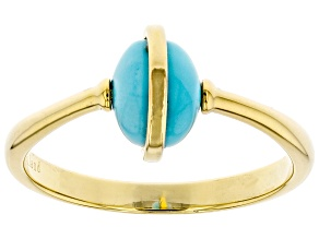 Blue Kingman Turquoise 18K Gold Over Silver Ring