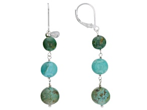 Green Kingman Turquoise Silver Earrings