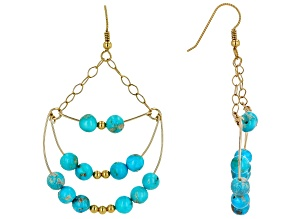Sleeping Beauty Turquoise 18K Yellow Gold Over Silver Earrings