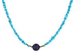Sleeping Beauty Turquoise W/ Hematite & Lapis Silver Necklace
