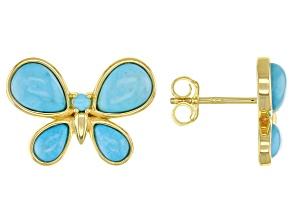Sleeping Beauty Turquoise 18K Gold Over Silver Butterfly Stud Earrings