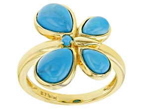 Sleeping Beauty Turquoise 18K Gold Over Silver Butterfly Ring