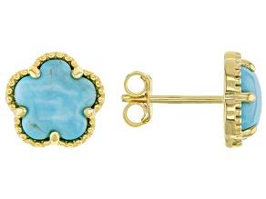 Kingman Turquoise 18K Gold Over Silver Flower Stud Earrings