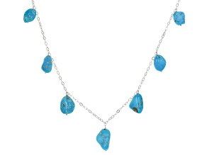 Blue Kingman Turquoise Sterling Silver Station Necklace