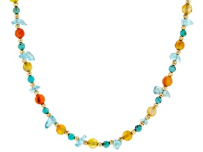 Kingman Turquoise, Carnelian, Agate Chips & Hematine Silver necklace