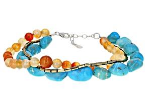 Kingman Turquoise, Carnelian, & Hematine Silver Bracelet