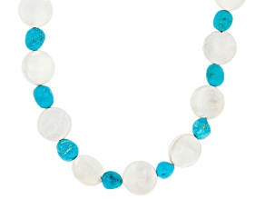 Sleeping Beauty Turquoise & Shell Pearl Silver Necklace