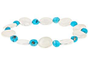 Sleeping Beauty Turquoise & Shell Pearl Stretch Bracelet