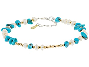 Sleeping Beauty Turquoise Chips Cultured Freshwater Pearl & Hematine Silver Bracelet