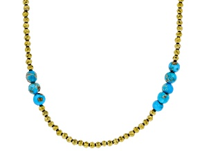 Sleeping Beauty Turquoise &  Hematine Silver Necklace