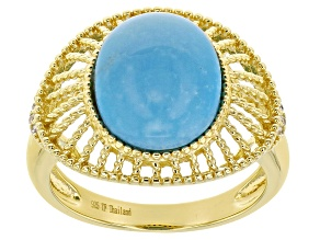 Blue Kingman Turquoise & Cubic Zirconia 18K Gold Over Silver Ring