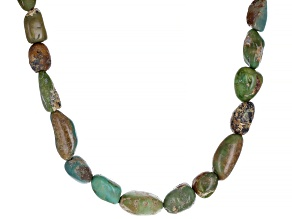 Green Turquoise In Matrix Nugget Sterling Silver Necklace