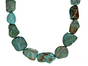 Kingman Turquoise Graduated Nugget Sterling Silver Necklace