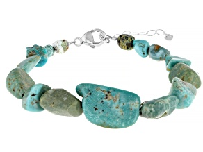 Kingman Turquoise Graduated Nugget Sterling Silver Bracelet