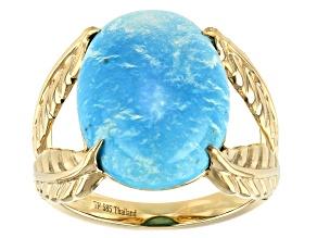 Sleeping Beauty Turquoise 14k Gold Leaf Ring