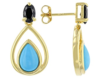 Picture of Sleeping Beauty Turquoise & Black Spinel 18k Yellow Gold Over Sterling Silver Earrings .60ctw