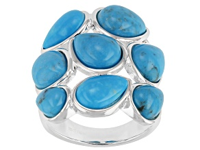 Kingman Turquoise Sterling Silver Cluster Ring