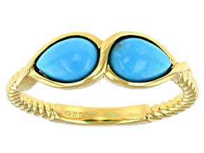 Sleeping Beauty Turquoise 18k Yellow Gold Over Sterling Silver Ring