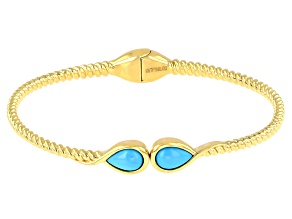Sleeping Beauty Turquoise 18k Yellow Gold Over Sterling Silver Bracelet