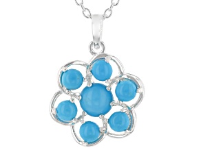 "Sleeping Beauty Turquoise Sterling Silver Pendant With 18"" Chain"