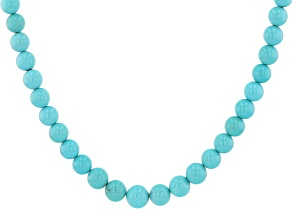 Sleeping Beauty Turquoise Sterling Silver Graduated Bead Necklace