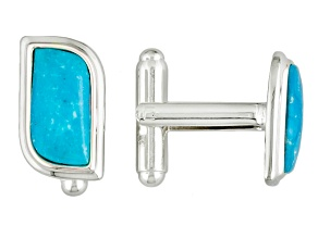 Turquoise Silver Over Brass Cuff Links.