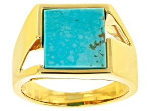 Blue Kingman Turquoise 18k Yellow Gold Over Silver Mens Ring 12x12mm