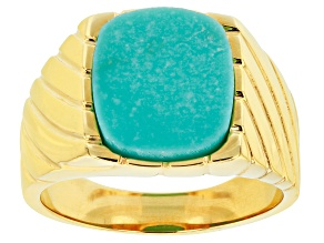 Tehya Oyama Turquoise™  Blue Kingman Turquoise 18k Gold Over Silver Mens Ring 14x12mm