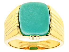 Blue Kingman Turquoise 18k Gold Over Silver Mens Ring 14x12mm