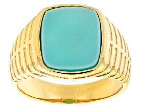 Tehya Oyama Turquoise™ Blue Kingman Turquoise 18k Yellow Gold Over Silver Mens Ring 14x12mm