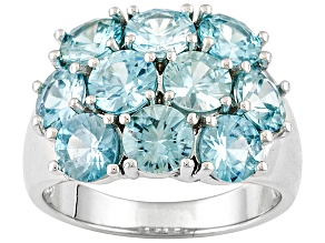 Blue Zircon Sterling Silver Ring 6.80ctw